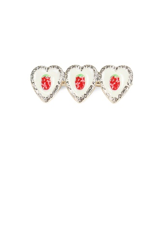 Glamorousky silver Fashion Simple Plated Gold Strawberry Beige Heart-shaped Hair Clip 4785CAC1DD588CGS_1