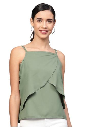 SASSAFRAS green Olive Cold Shoulder Layer Top AF91EAA55FC1C5GS_1