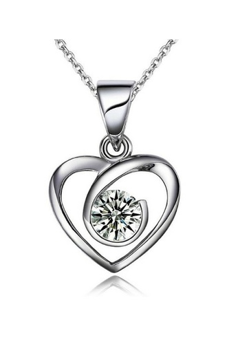 Vivere Rosse silver In Heart 925 Sterling Silver Necklace VI014AC32MJFMY_1