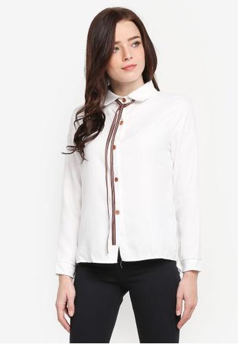 BYN white Long Sleeve Shirt F2EB3AA94898F7GS_1