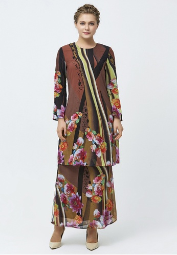 Regal Mixed Floral and Spots Baju Kurung from Era Maya in black and pink and yellow and green and Brown