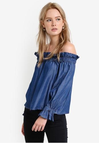 MANGO blue Off Shoulder Denim Blouse MA193AA71CAEMY_1