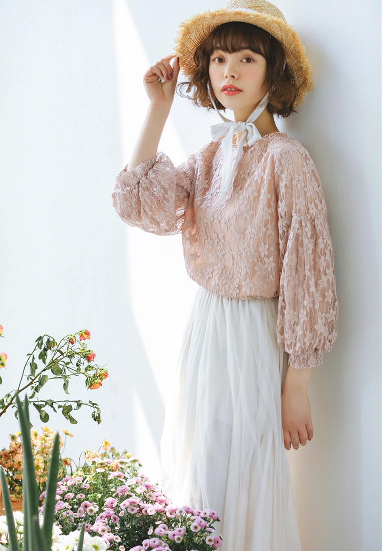 in Shopsfashion Blouse Full Lace Pink Pink qRtHv1xR