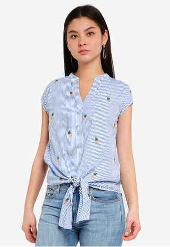 WAREHOUSE blue Pineapple Tie Front Shirt CF5D2AA677DD1FGS_1