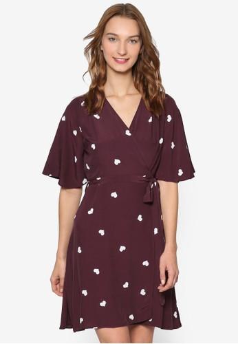 05.esprit 高雄08 心印花短袖裹式連身裙, 服飾, 洋裝