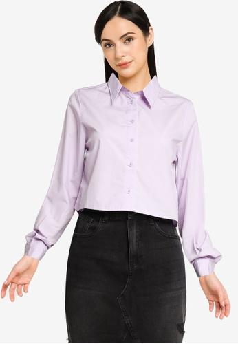 Noisy May 紫色 Pinar 長袖Cropped 襯衫 44739AA1E1A94DGS_1