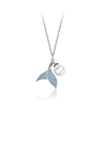 Glamorousky white 925 Sterling Silver Cute Blue Fishtail Pendant Necklace with Austrian Element Crystals and Pearl 7B12AACD315206GS_1