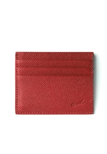Crudo Leather Craft red Sen'zaltro Credit Card Holder -  Saffiano Wine Red C836EAC9EDBBB2GS_1