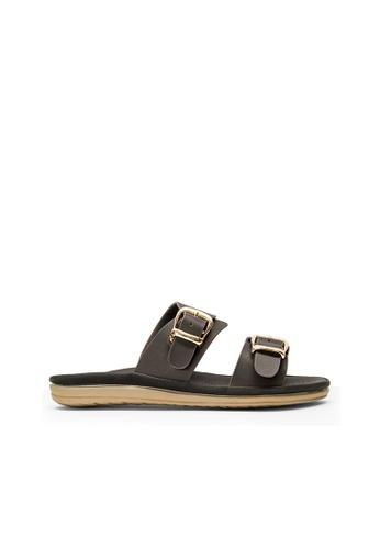 SEMBONIA black SEMBONIA Synthetic Leather Flat Sandal (Black) 36717SHE125234GS_1