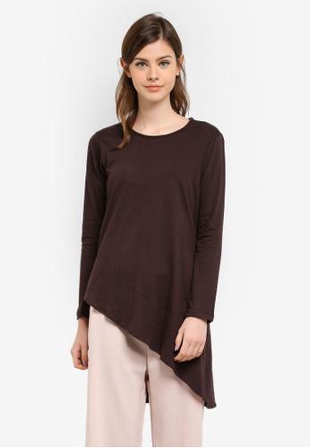 Aqeela Muslimah Wear brown Asymmetrical Top AQ371AA0S4VSMY_1