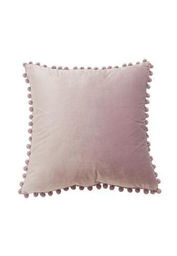 DILAS HOME Pom Pom Velvet Cushion Cover (Wisteria) 396F2HL6BC0BE6GS_1