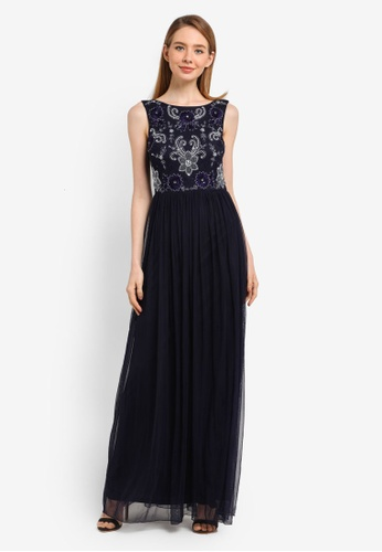 Frock and Frill navy Embellished Dress 6206CAAA64B89DGS_1