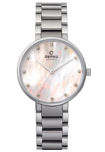 OBAKU silver Women's Analogue Quartz Watch in Mother of Pearl Dial and Stainless Steel Link Bracelet 81F3DACCBFFA2AGS_1