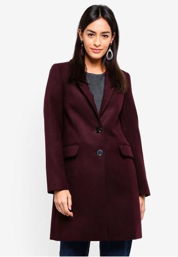 WAREHOUSE purple Single Breasted Coat 83283AA356BBA4GS_1