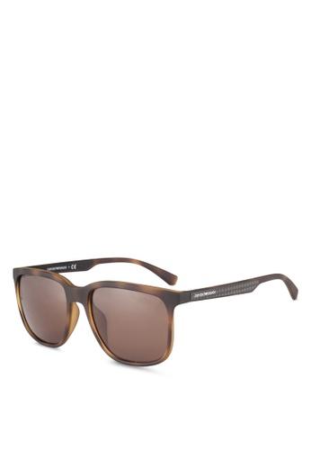 Emporio Armani brown Emporio Armani EA4104F Sunglasses EM212GL0RNISMY_1
