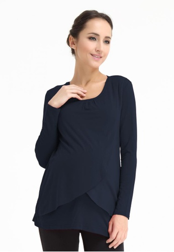 Bove by Spring Maternity black Knitted Long Sleeve Vina Flap Top Charcoal LTN3004 BO010AA0FTIASG_1