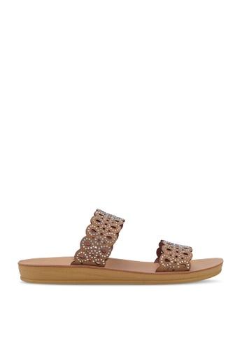 Noveni brown Rhinestone Sandals E7558SH4540E95GS_1