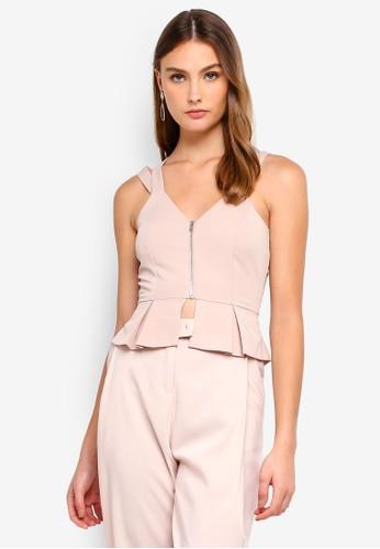 Lavish Alice beige Cut Out Tailored Top With Metal Zipper 3B1B3AA4CD3C47GS_1