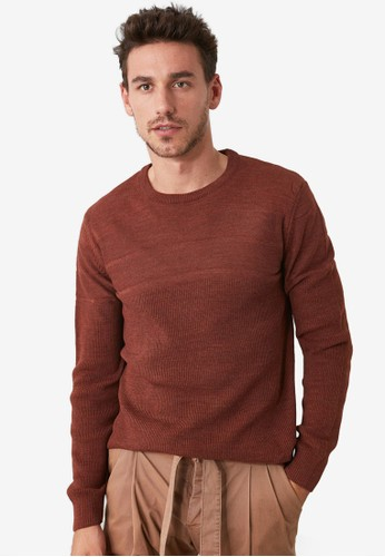 Trendyol orange Textured Panel Crew Neck Knit Sweater 6A91DAAC5473A7GS_1
