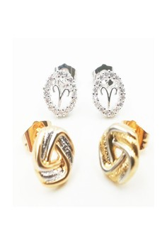 Aries Sign Stud and and Heart Shape with Stone Hoop Earrings