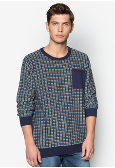 Knitted Checks Crew Neck Sweater