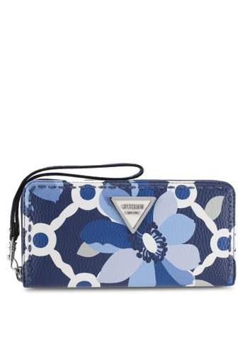 Guess blue and multi Sawyer Large Zip Around Wallet F446BAC34AE372GS_1