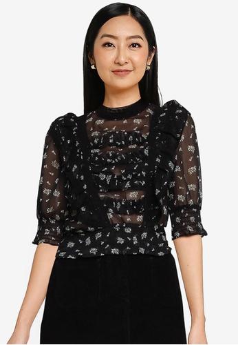 Miss Selfridge black Ditsy Print Ruffle Blouse ED3E4AA126E8C9GS_1