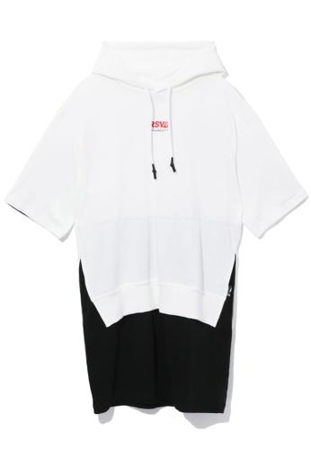 izzue white Layered slogan hoodie dress D6C56AA442D592GS_1