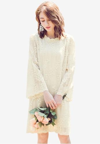 YOCO white Lace Flare Sleeve Dress 963C7AAB8C04E2GS_1
