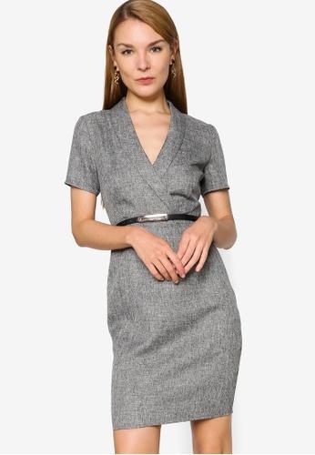 ZALORA WORK grey Formal Belted Lapel Dress 7059CAA44D4F6FGS_1