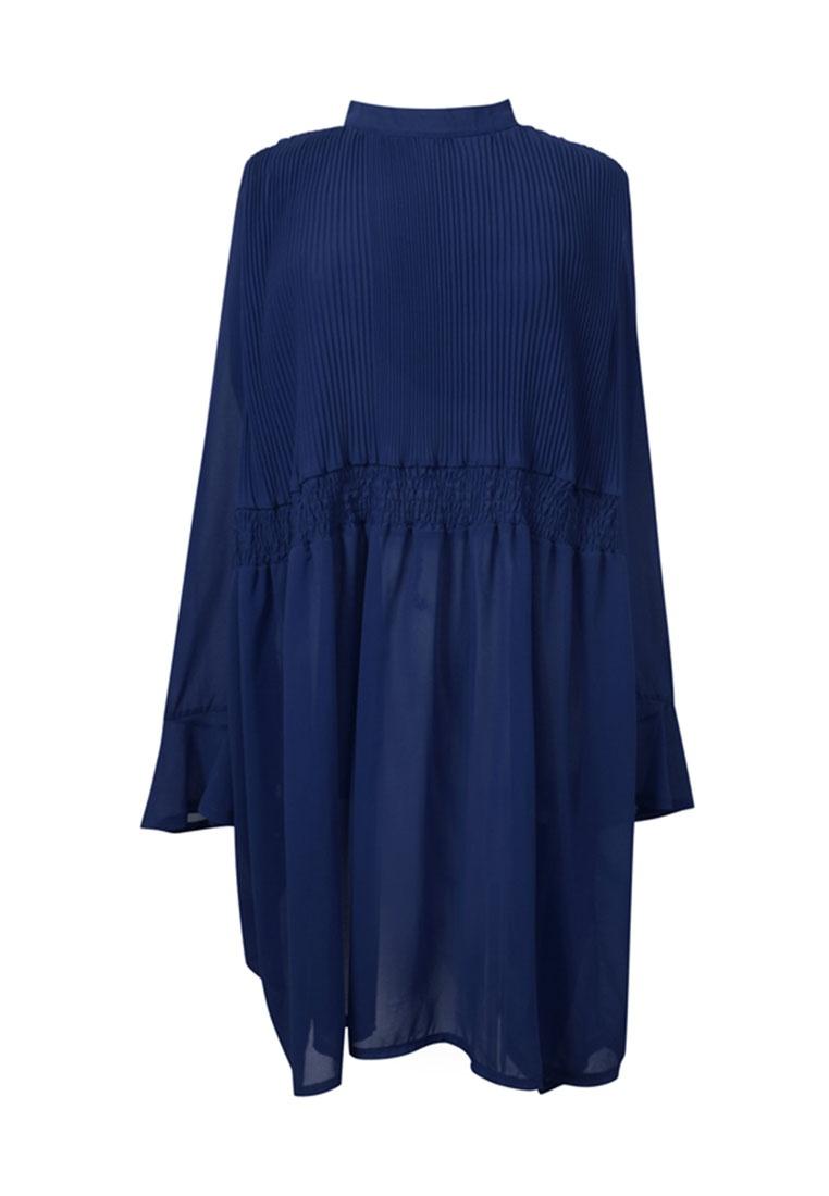 Pleated Dress Blue Tokichoi Pleated Chiffon Chiffon 5xCwqPFMOM