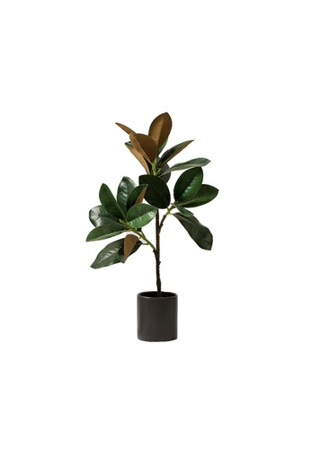 Propstation Potted Faux Silk Magnolia Tree 60cm in Black Ceramic Planter Pot 1A14AHL874F5DCGS_1