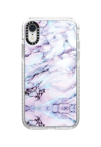 Casetify white and multi Marble Swirl Impact Protective iPhone XR Case with Camera Ring - Frost 5A623AC7F29569GS_1