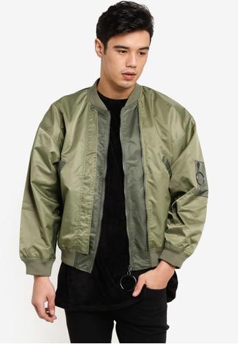 Flesh IMP 綠色 Ortiz Plain Bomber Jacket FL064AA65WZQMY_1
