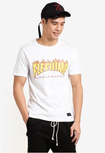 Flesh IMP white Flaming Flesh Imp Tharasher T-Shirt FL064AA86WYVMY_1