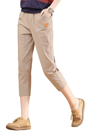 A-IN GIRLS beige Elasticated Waist Cropped Trousers 7CD04AABF71AB6GS_1