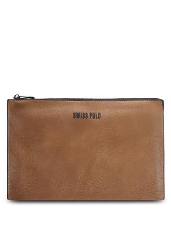 Swiss Polo brown Swiss Polo Clutch Bag SW912AC0SMBJMY_1