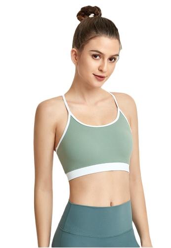 B-Code green ZWG1112c-Lady Quick Drying Running Fitness Yoga Sports Bra-Green 832E8AA00BA70AGS_1