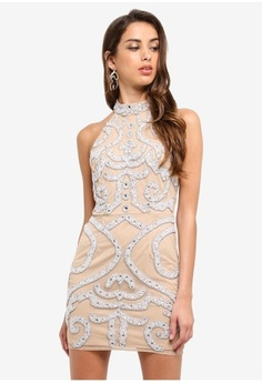 c046d4f858 Psst... we have already received your request. MISSGUIDED. Peace + Love Nude  Halterneck Embellished Mini Dress