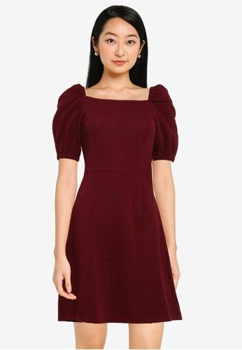 ZALORA BASICS purple Square Neck Fit & Flare Dress B8D6CAA03552F8GS_1
