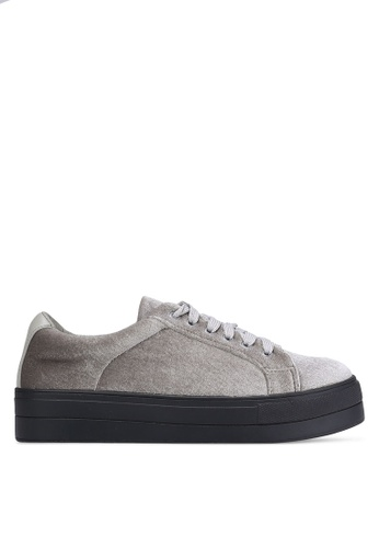 Something Borrowed grey Velvet Lace Up Sneakers 687CDSHAF68268GS_1