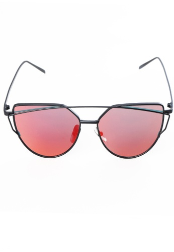 Amora Scarlett Branché Black Frame with Pink-Red Flame Ombre Reflective Transition Lens AM058AC64MVJMY_1