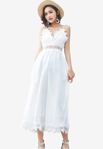 Sunnydaysweety white Plain Lace Jumpsuit E3CB5AA49C281FGS_1
