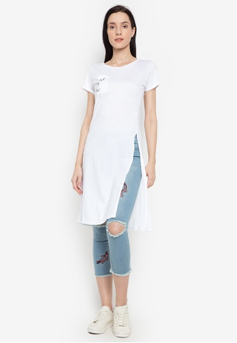 NEXT white Long Top With Slit 539F8AAB1AF486GS_1