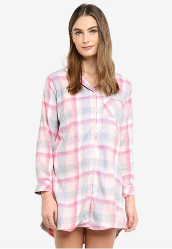 Dorothy Perkins pink Pink Check Nightshirt B2201AA692E51CGS_1
