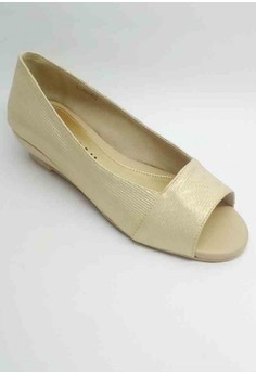 Lea Formal GOLD Shoes Open Toe Low Wedge