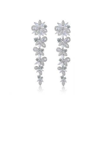 Glamorousky white Fashion and Elegant Flower Tassel Earrings with Cubic Zirconia 15832ACBC06E4AGS_1