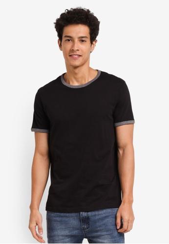 Burton Menswear London black Short Sleeve Black And Charcoal Ringer T-Shirt A876EAAAE2DB7FGS_1