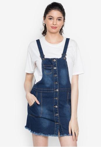 Ninety Nine Point Nine Boutiq blue Classic Frayed Denim Overall Dress Skirt F2B0AAAD3E1FEAGS_1