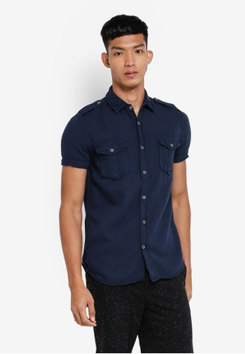 OVS 藍色 休閒短袖襯衫 EC73EAA3C19795GS_1